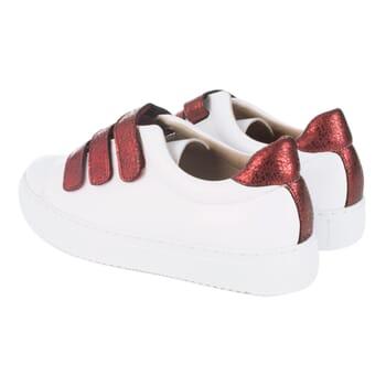 basket scratch cuir blanc rouge jules & jenn