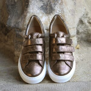 basket scratch cuir marron metallise jules & jenn