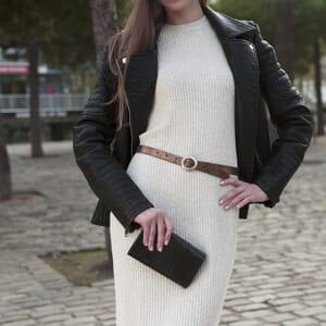 ceinture fine cuir metallise bronze jules & jenn