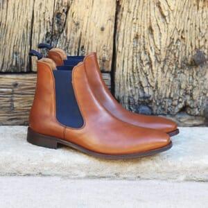 vue posee chelsea boots cuir cognac et bleu jules & jenn