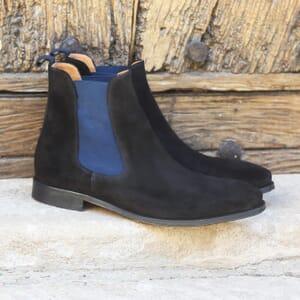vue posee chelsea boots cuir daim noir et bleu jules & jenn