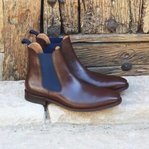 vue posee chelsea boots cuir vegetal marron et bleu jules & jenn
