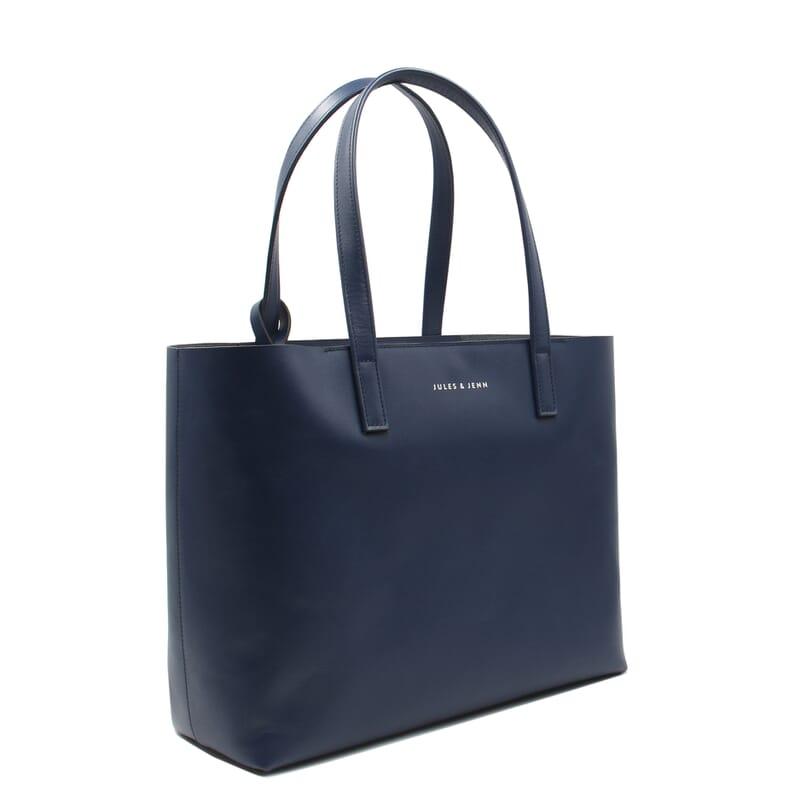 sac cabas cuir bleu jules & jenn