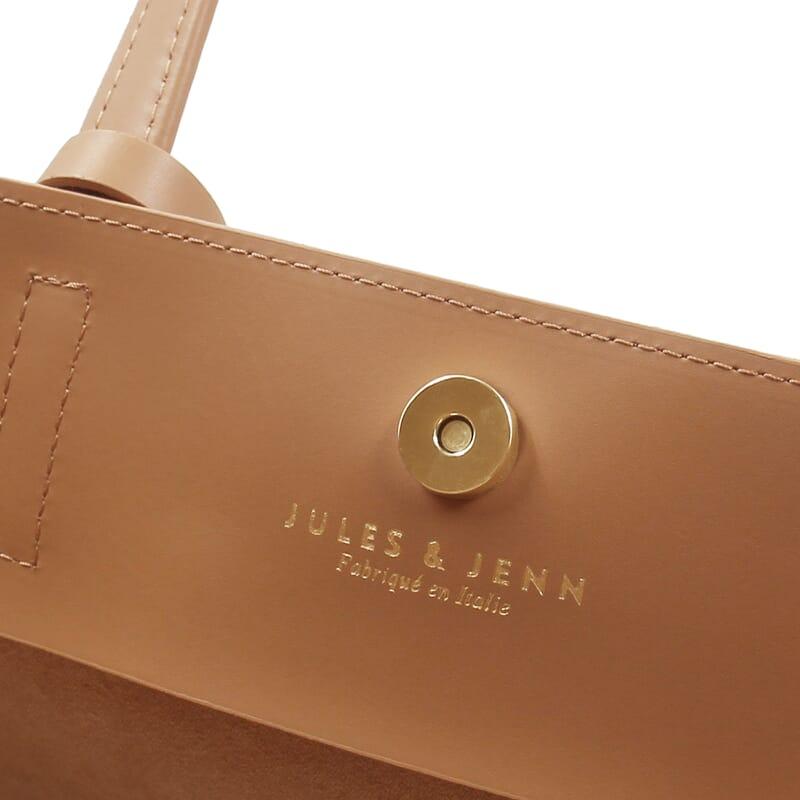 vue intérieure du sac cabas cuir camel jules & jenn