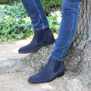 vue posee chelsea boots cuir daim bleu jules & jenn