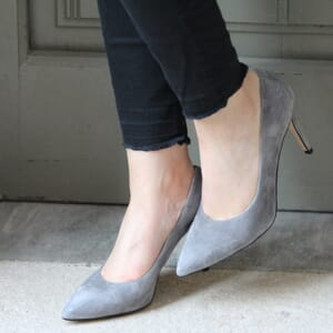 vue portee escarpins classique cuir daim gris jules & jenn