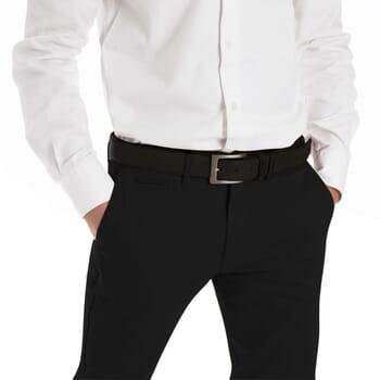 vue portee de ceinture homme cuir noir classique