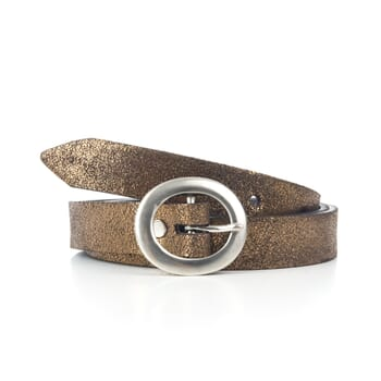 ceinture fine femme cuir metallise bronze Jules & Jenn