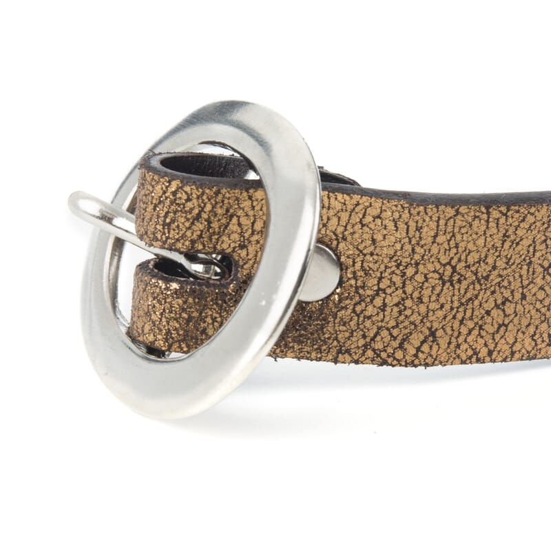 boucle de ceinture femme cuir metallise bronze