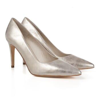 escarpins classiques cuir metallise dore Jules & Jenn