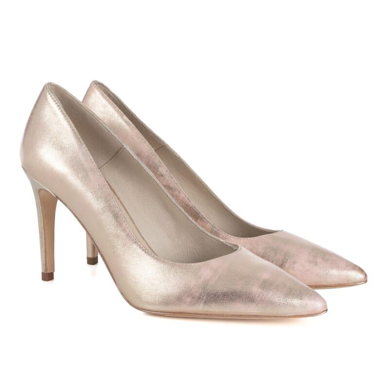escarpins classiques cuir metallise rose Jules & Jenn