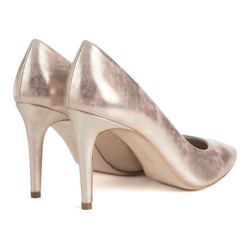 vue arriere escarpins rose metallise femme Jules & Jenn