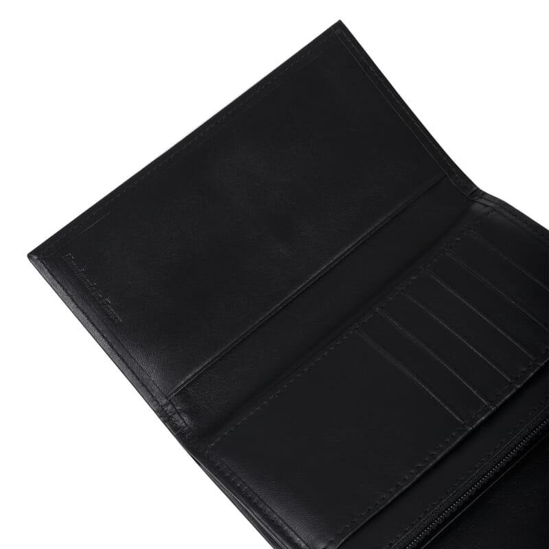 gros plan grand portefeuille noir fabrique en France