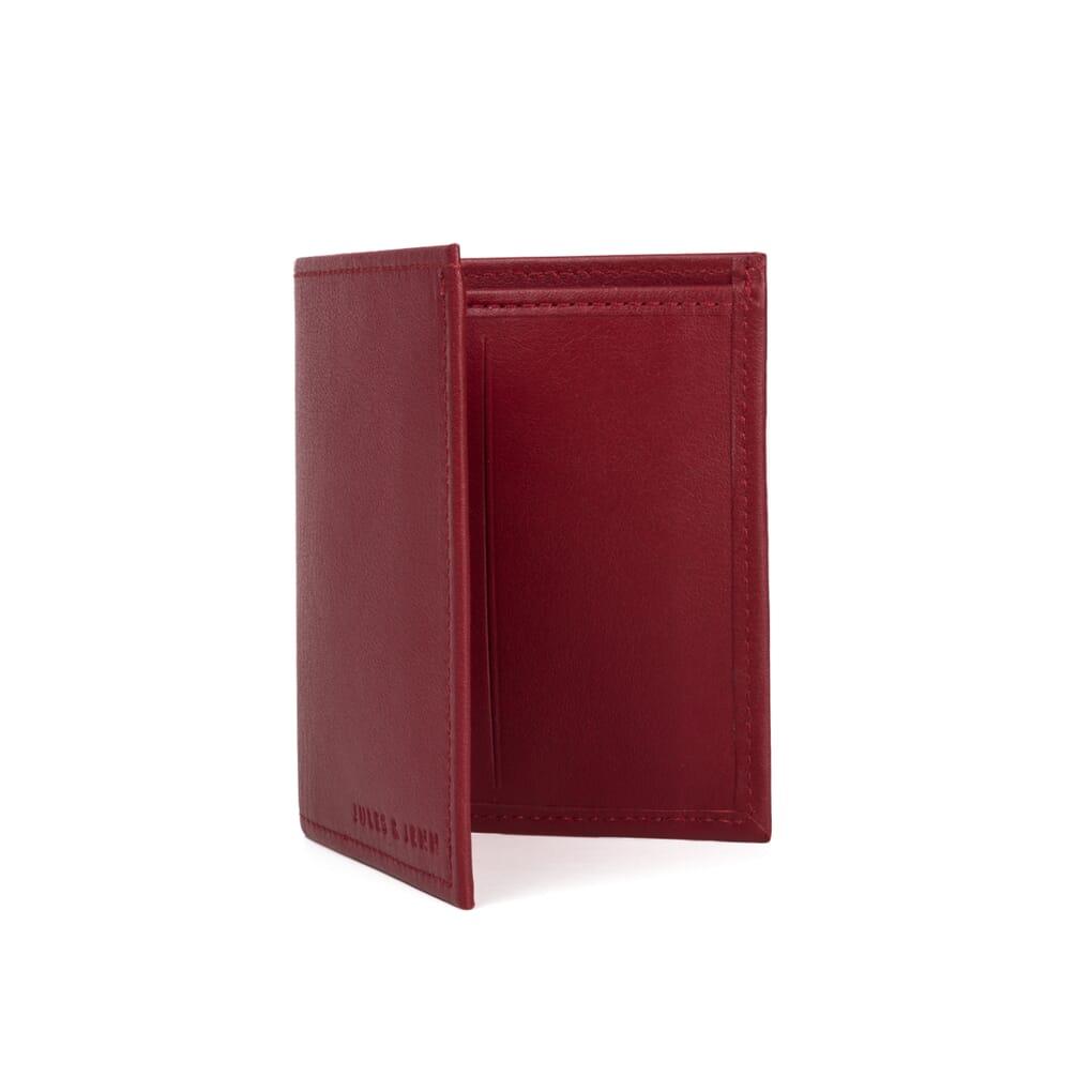 vue debout du porte-carte et billet cuir rouge