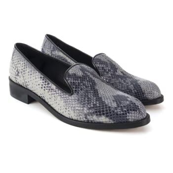 slippers cuir imprime python noir blanc Jules & Jenn