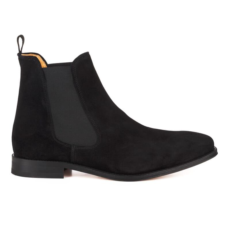 vue exterieure de chelsea boots cuir daim noir fabriques au Portugal Jules & Jenn