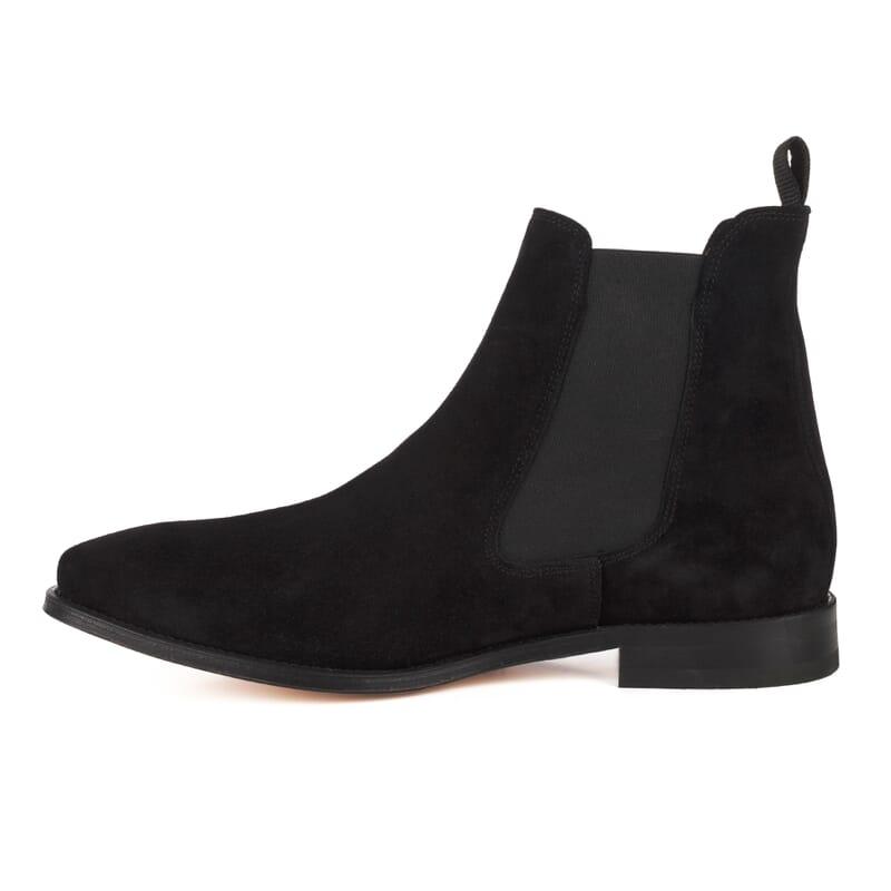 vue interieure de chelsea boots cuir daim noir Jules & Jenn