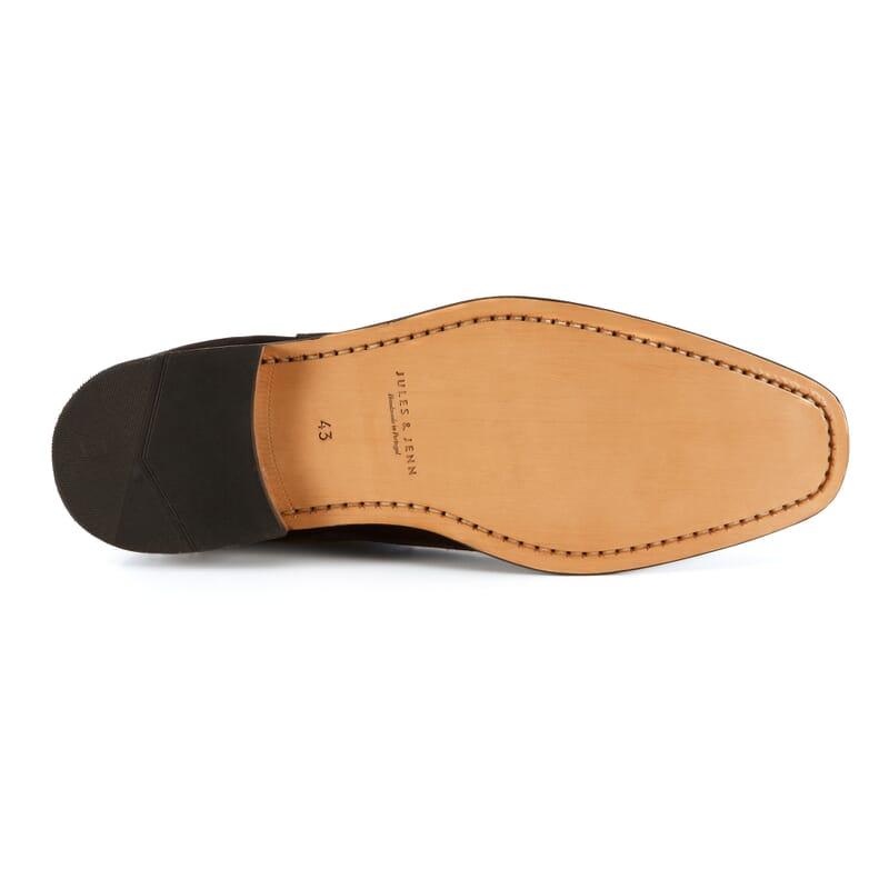 semelle cuir de chelsea boots homme daim noir Jules & Jenn