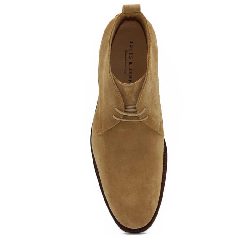 vue dessus desert boots cuir daim beige jules & jenn