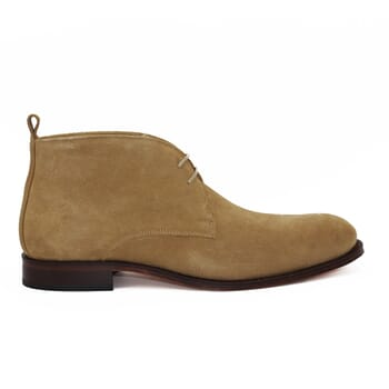vue exterieure desert boots cuir daim beige jules & jenn