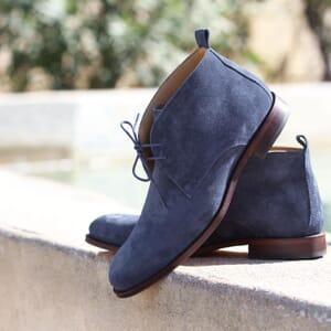 vue posee desert boots cuir daim bleu jules & jenn