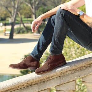 vue portee desert boots cuir daim marron jules & jenn