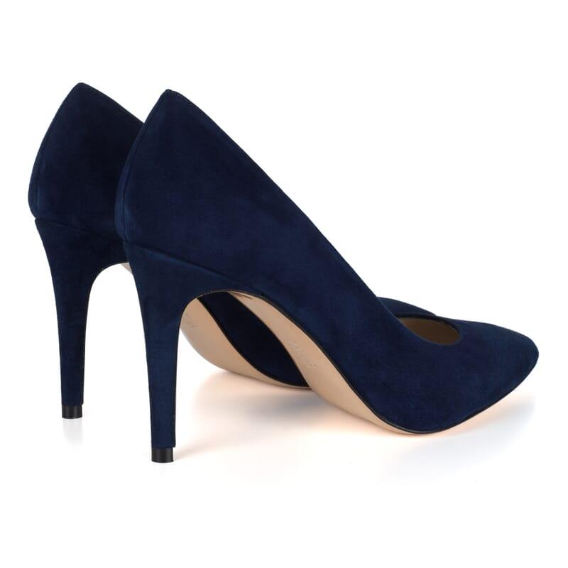 vue arriere escarpins bleus cuir daim femme Jules & Jenn