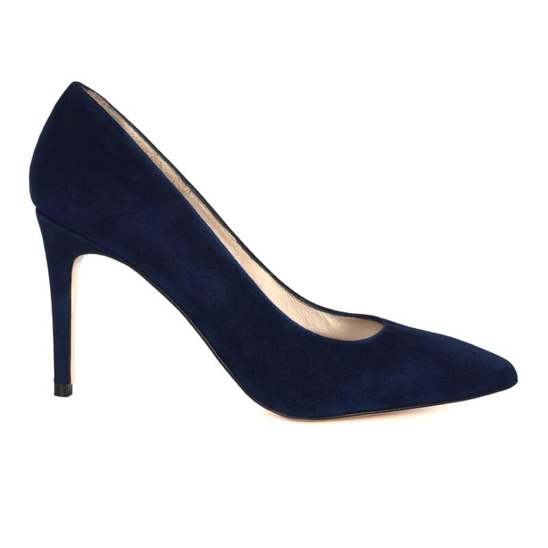 vue exterieure escarpin cuir daim bleu fabrique en Espagne