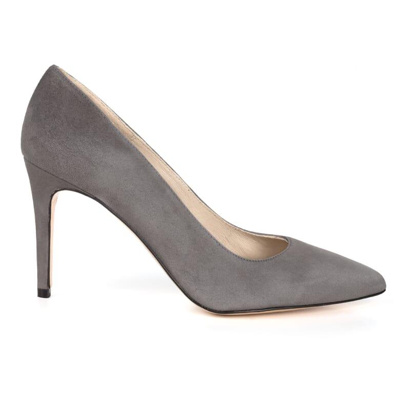 vue exterieure escarpin cuir daim gris fabrique en Espagne