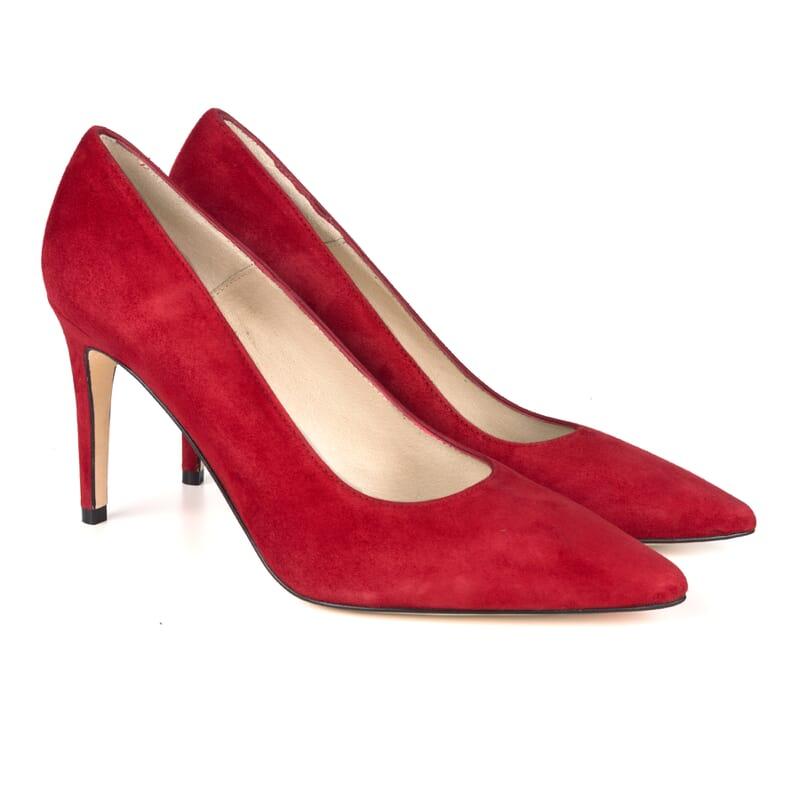 escarpins classiques cuir daim rouge Jules & Jenn
