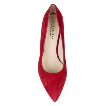 vue dessus escarpin rouge cuir daim Jules & Jenn