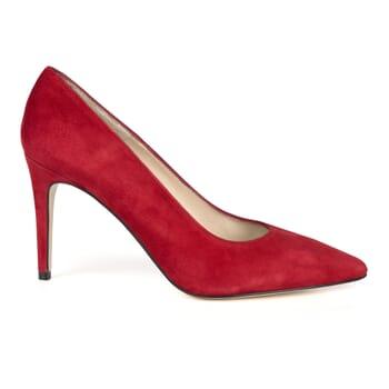 vue exterieure escarpin cuir daim rouge fabrique en Espagne