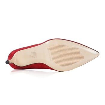 semelle cuir escarpin daim rouge Jules & Jenn