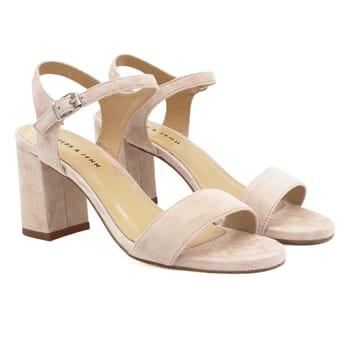 sandales à talon cuir daim beige jules & jenn