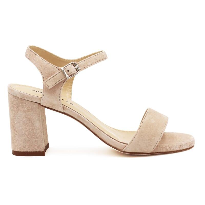 vue extérieure sandales à talon cuir daim beige jules & jenn