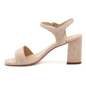 vue intérieure sandales à talon cuir daim beige jules & jenn