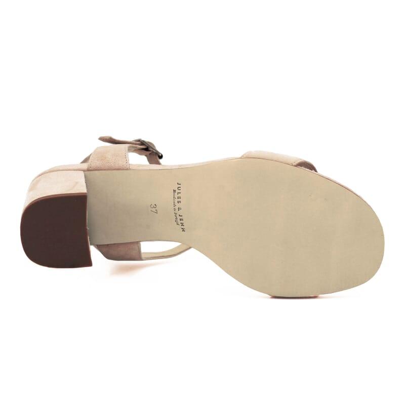 vue dessous sandales à talon cuir daim beige jules & jenn