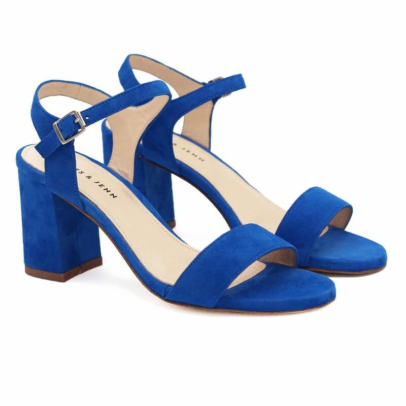 sandales à talon cuir daim bleu royal jules & jenn