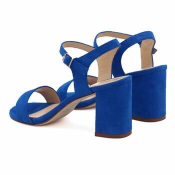 vue arrière sandales à talon cuir daim bleu royal jules & jenn