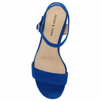 vue dessus sandales à talon cuir daim bleu royal jules & jenn