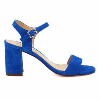 vue extérieure sandales à talon cuir daim bleu royal jules & jenn