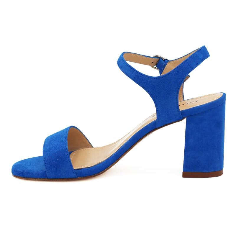 vue intérieure sandales à talon cuir daim bleu royal jules & jenn