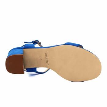 vue dessous sandales à talon cuir daim bleu royal jules & jenn