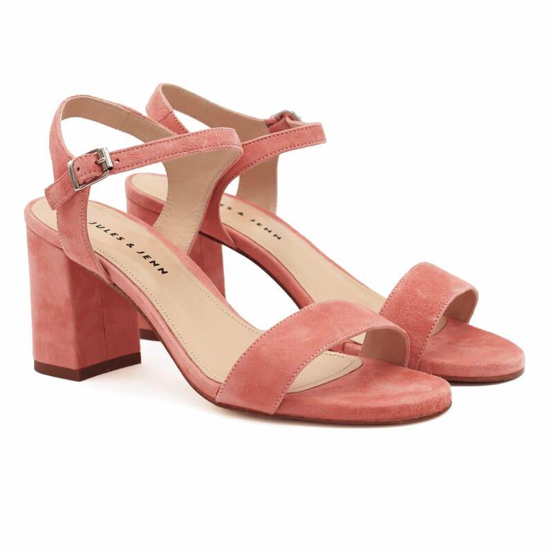 sandales à talon cuir daim rose jules & jenn