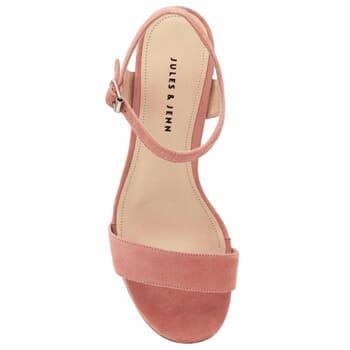 vue dessus sandales à talon cuir daim rose jules & jenn