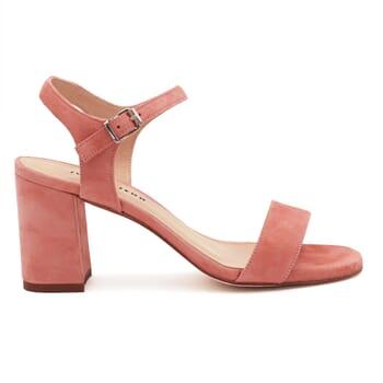 vue extérieure sandales à talon cuir daim rose jules & jenn