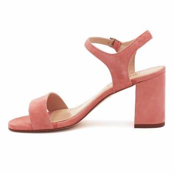 vue intérieure sandales à talon cuir daim rose jules & jenn