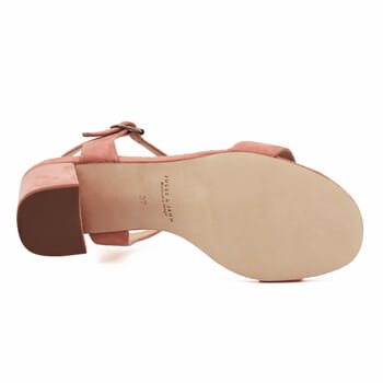 vue dessous sandales à talon cuir daim rose jules & jenn