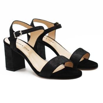 Sandales talon cuir metallise noir Jules & Jenn