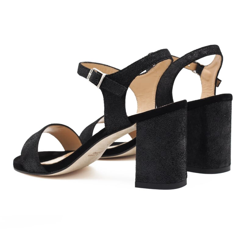 vue arriere sandales talon cuir metallise noir femme Jules & Jenn